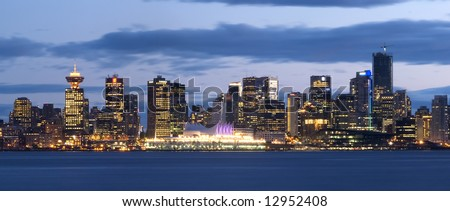 Vancouver, Canada. Nocturnal Skyline - stock photo