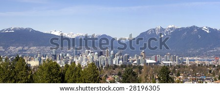 Vancouver, Canada surrounded by  mountains. - stock photo