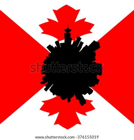Vancouver circular skyline with Canadian flag illustration - stock photo