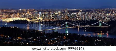 Vancouver city at twilight - stock photo