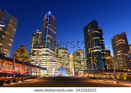 Vancouver city financial district at night, Vancouver, British Columbia, Canada. - stock photo