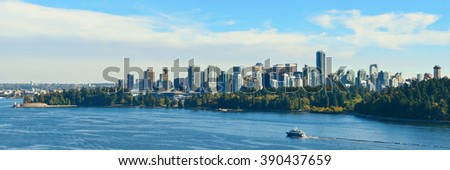 Vancouver city skyline panorama and mountains. - stock photo