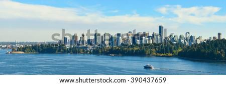 Vancouver city skyline panorama and mountains. - stock photo