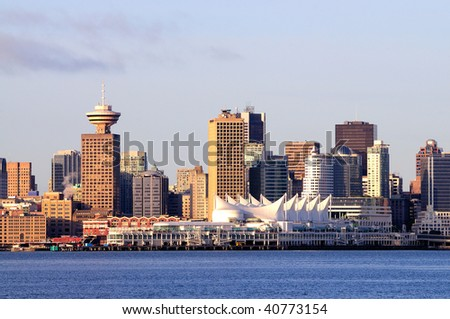 Vancouver City View at Sunset - stock photo