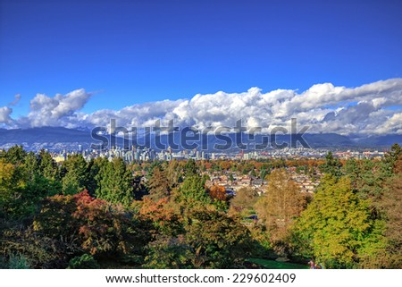 Vancouver city view in autumn