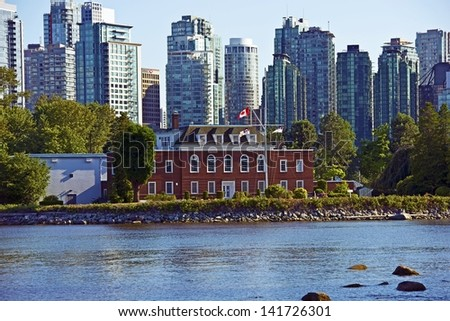 Vancouver Cityscape - Vancouver, British Columbia, Canada Panoramic Photography. Canadian Cities Photo Collection. - stock photo