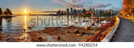 Vancouver downtime sunrise panorama - stock photo