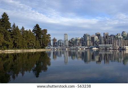 Vancouver downtown and Stanley park - stock photo