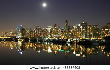 Vancouver downtown, lunar night