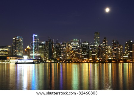 Vancouver downtown, lunar night, Canada BC - stock photo