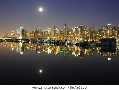 Vancouver downtown, lunar night, Canada BC .
