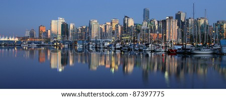 Vancouver downtown night, Canada BC