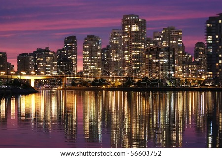Vancouver downtown sunset - stock photo