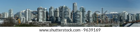 Vancouver False Creek Skyline Panorama - stock photo