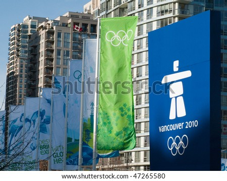 VANCOUVER - FEB 19: Olympic banners and logo at the main gate of the BC Place Stadium during the Vancouver 2010 Olympic Games on February 19, 2010 in Vancouver, British Columbia, Canada - stock photo