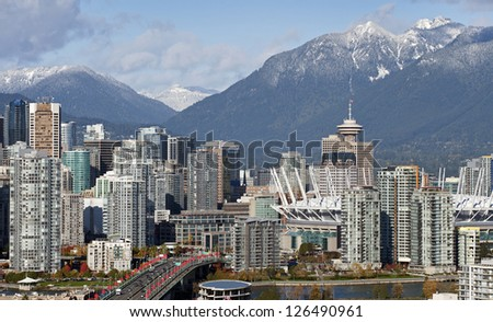 Vancouver - Grouse Mountains, Cambie Bridge, BC Place Stadium and downtown - stock photo