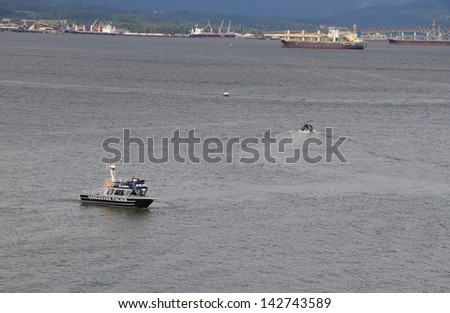 Vancouver harbor police on patrol