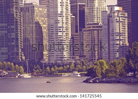Vancouver in Ultraviolet Color Grading. Vancouver, Canada. Cities photo Collection. - stock photo