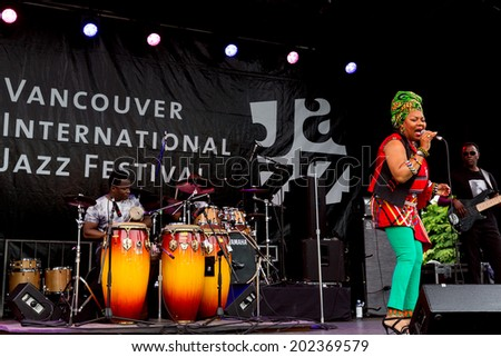 VANCOUVER-JUN 28,2014:South African singer Lorraine Klaasen performs at the 29th Annual Vancouver Jazz Festival.The Montreal-based singer is known for Township music in the tradition of Miriam Makeba.