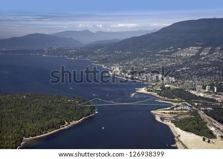 Vancouver - Lions Gate Bridge, West Vancouver and Coast Mountains - stock photo