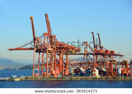 VANCOUVER - NOV 13: Port of Vancouver on November 13th, 2014 in Vancouver, British Columbia, Canada. - stock photo