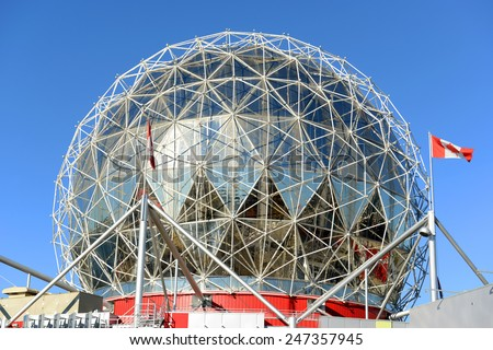 VANCOUVER - NOV 10: Vancouver Science World on November 10th, 2014 in Vancouver, British Columbia, Canada. This building was designed for EXPO 86. - stock photo