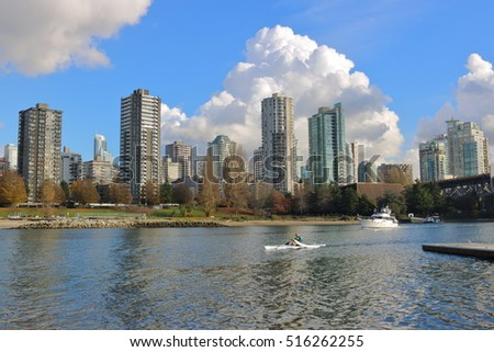 VANCOUVER - NOVEMBER 14, 2016: Various boats leave False Creek in Vancouver, Canada on their way to English Bay on November 14, 2016.