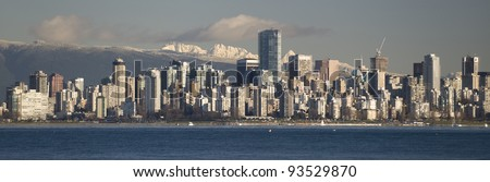 Vancouver - panoramic view of the city under Coast Mountains, British Columbia, Canada - stock photo