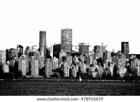Vancouver Panoramic with white sky, clipping path silhouette
