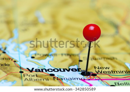 Vancouver pinned on a map of Canada  - stock photo