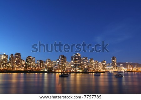 Vancouver's Skyline Bathed in Twilight - stock photo