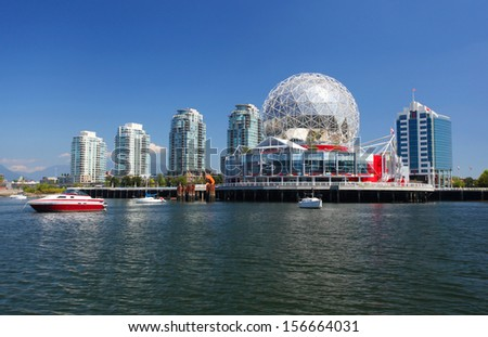 VANCOUVER - SEPTEMBER 9: Science World in Vancouver, Canada on September 9, 2013. Vancouver has been ranked the third most liveable city in the world for the second year in a row. - stock photo