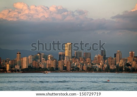 Vancouver skyline at the dusk, sunset - stock photo