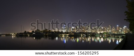 Vancouver Skyline from Stanley Park. Panorama taken in Vancouver, British Columbia, Canada (Vancouver, BC) - stock photo