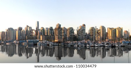 Vancouver Skyline Panorama from the Seawall. - stock photo