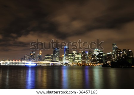Vancouver skyline view from Stanley Park at night - stock photo