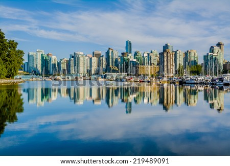Vancouver skyline with harbor, British Columbia, Canada  - stock photo