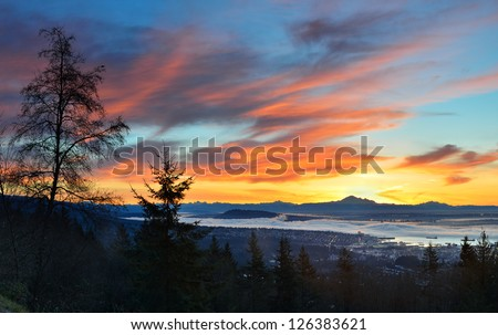 Vancouver Sunrise, viewed from Cypress mountain lookout point - stock photo