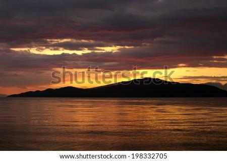 Vancouver - sunset above English Bay - stock photo