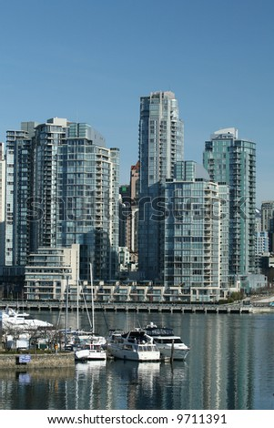 Vancouver Waterfront High-Rise Residential Towers - stock photo