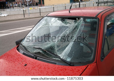vandal or thief or accident - destroyed window-pane, raining time, - stock photo
