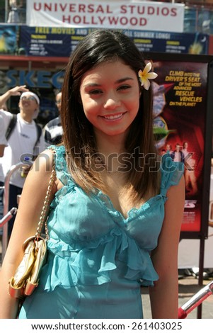 "Vanessa Anne Hudgens at the ""Thunderbirds"" Premiere held at the Universal Studios Cinemas in Universal City, California United States on July 24, 2004. - stock photo"