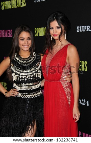 "Vanessa Hudgens, Selena Gomez at the Los Angeles Premiere of ""Spring Breakers,"" Arclight, Hollywood, CA 03-14-13 - stock photo"