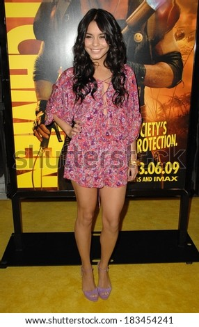 Vanessa Hudgens, wearing a Rebecca Taylor jumpsuit, at Premiere of WATCHMEN, Grauman's Chinese Theatre, Los Angeles, CA March 02, 2009  - stock photo