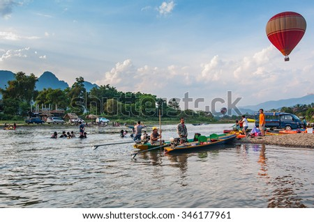 Vang Vieng, Laos-May 1,2015 : Vang Vieng is a tourist attraction town in northern Laos.  - stock photo