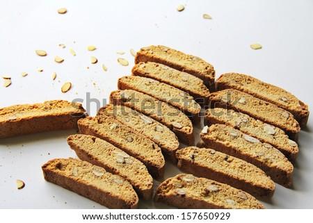 Vanilla Almond Biscotti Cookies - stock photo