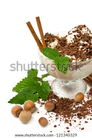 vanilla and coffee ice cream with chocolate and nuts - stock photo
