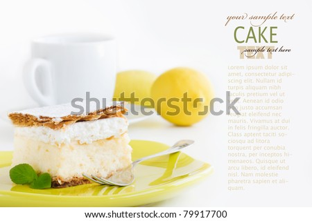 vanilla and custard cream cake dessert - stock photo