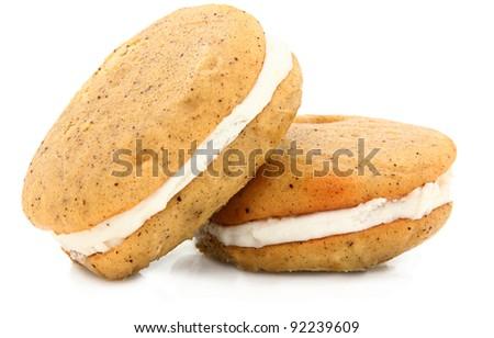 Vanilla Bean Whoopie Pie Isolated On White Background - stock photo
