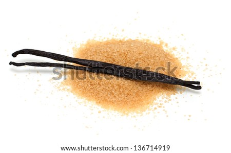 vanilla beans and brown vanilla sugar isolated on white background - stock photo